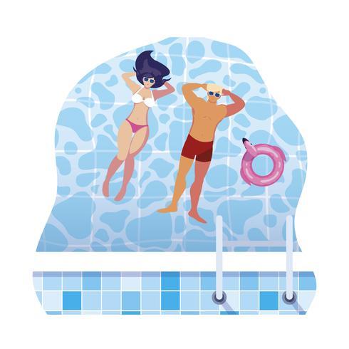 giovane coppia con costume da bagno galleggianti in piscina vettore