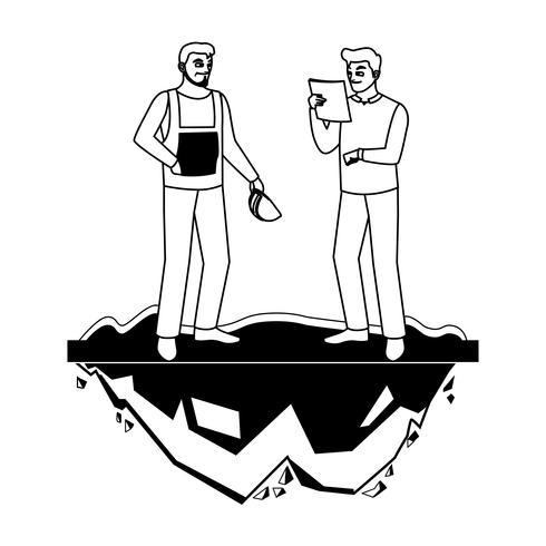 costruttori maschi costruttori operai sul prato vettore