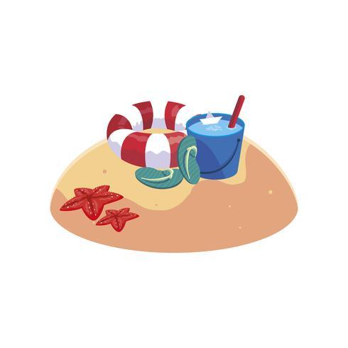 spiaggia di sabbia estiva con scena secchio d'acqua vettore