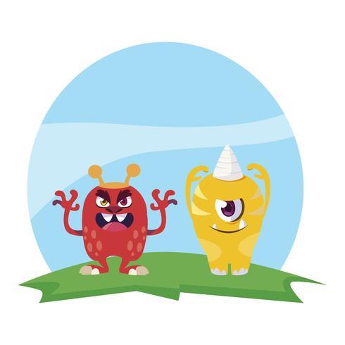 mostri divertenti coppia nel campo personaggi colorati vettore