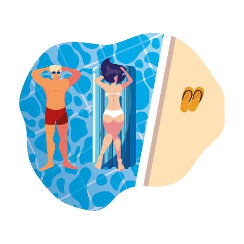 giovane coppia con materasso galleggiante in piscina vettore