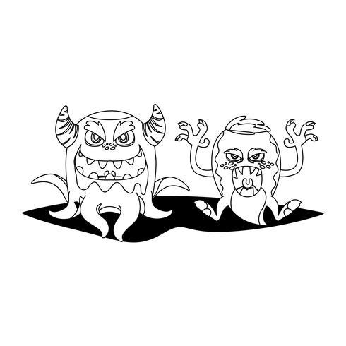mostri divertenti coppia personaggi comici monocromatici vettore