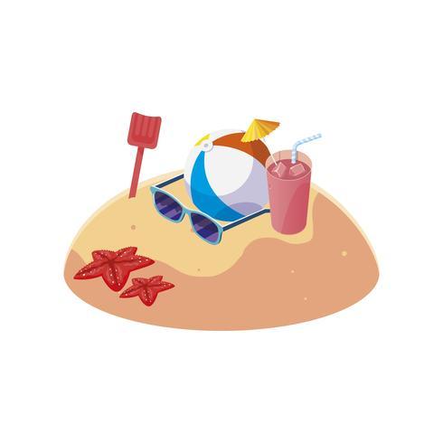 spiaggia di sabbia estiva con scena di pallone in spiaggia vettore