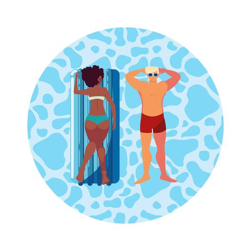 coppia interrazziale con materasso galleggiante in acqua vettore