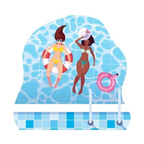 ragazze interrazziali con costume da bagno e bagnino galleggiano in acqua vettore