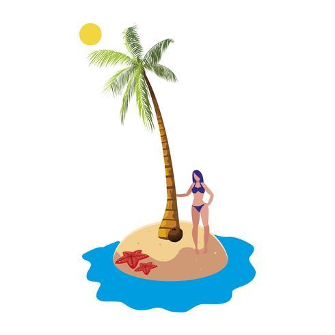 giovane donna sulla scena estiva spiaggia vettore