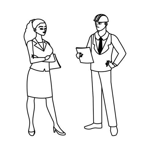 coppia di ingegneri costruttori personaggi operai vettore