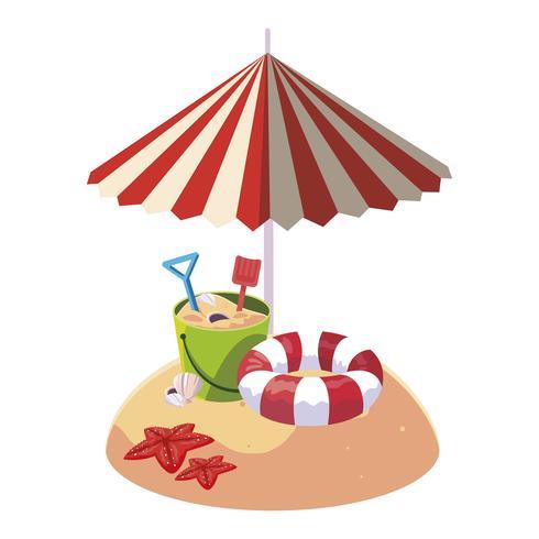 spiaggia di sabbia estiva con ombrellone e secchio di sabbia giocattolo vettore