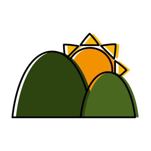 icona di montagne e sole vettore
