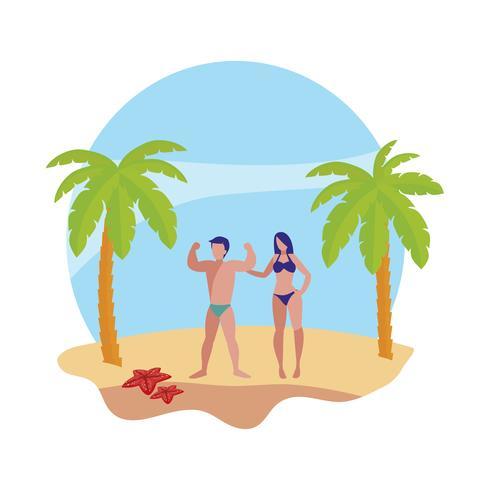 giovane coppia sulla scena estiva della spiaggia vettore