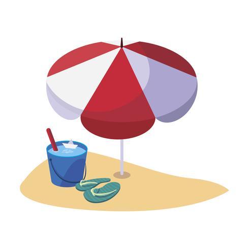spiaggia di sabbia estiva con ombrellone e infradito vettore