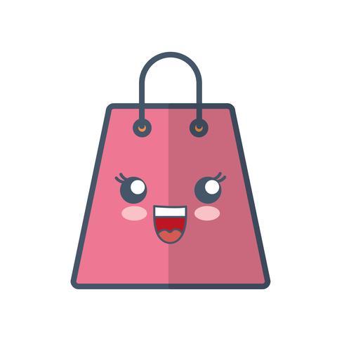icona della borsa della spesa kawaii vettore