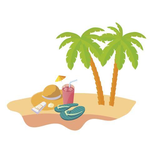 scena di spiaggia estiva con palme e cappello di paglia vettore