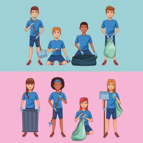Cartoni animati volontari per la pulizia del parco vettore