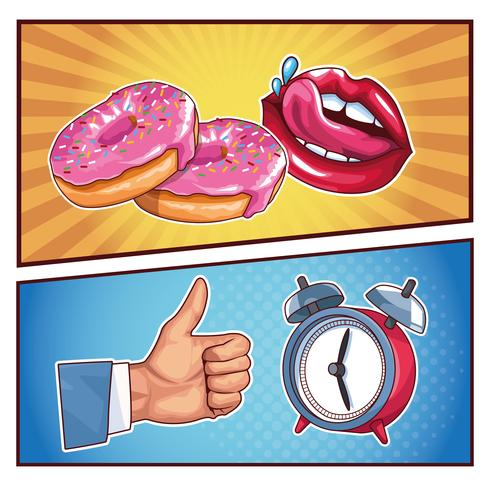 cartoni animati pop art vettore