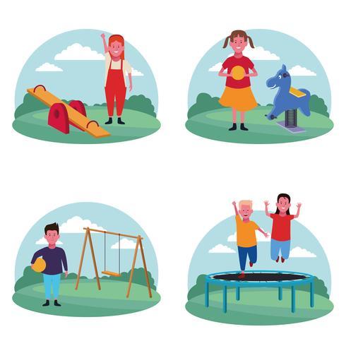 insieme di bambini al parco giochi vettore
