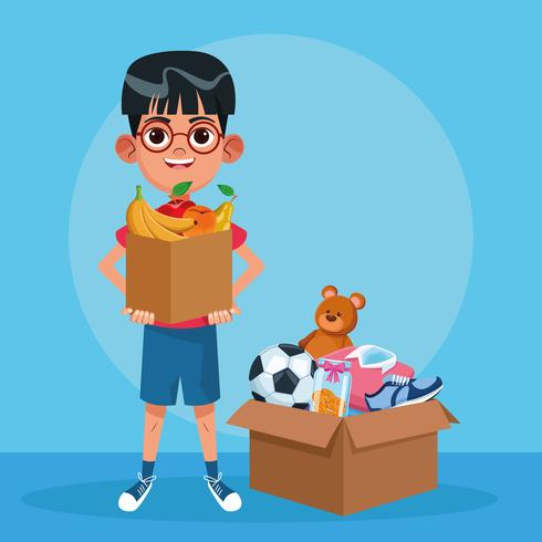 Kid donazione cartoon di beneficenza vettore