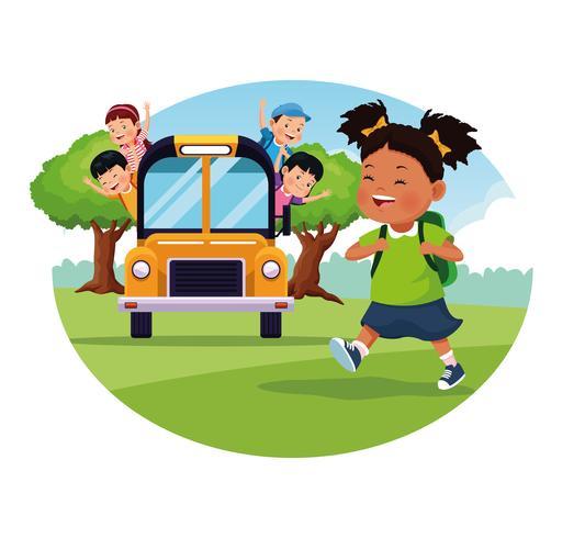 Icona rotonda di fumetti di ritorno a scuola per bambini vettore