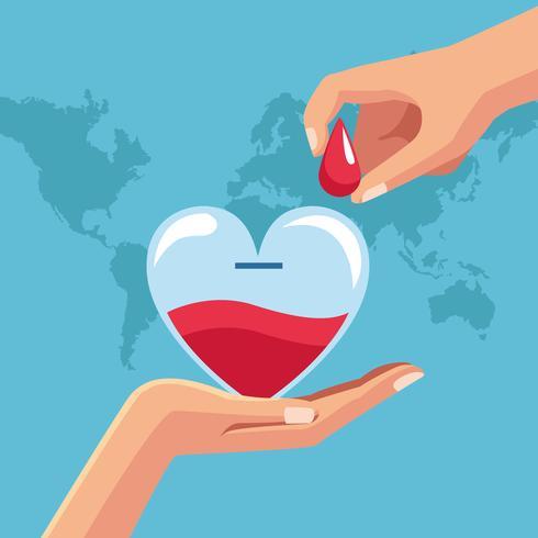 Cartoni di beneficenza per donazione di sangue vettore