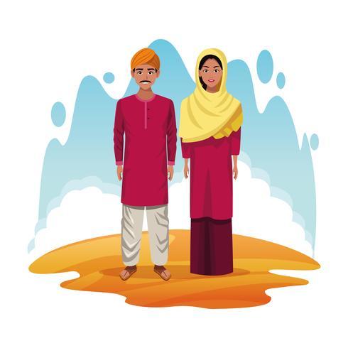 coppia indiana di india cartoon vettore