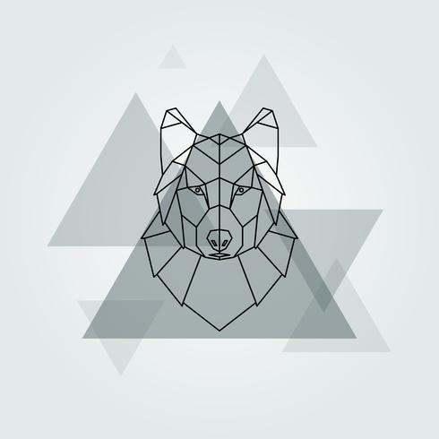 Priorità bassa della testa del lupo grigio animale geometrico di vettore. vettore