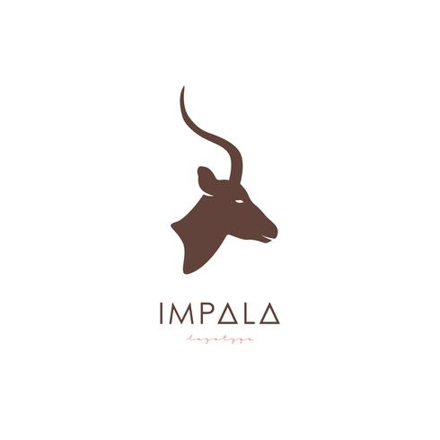 Logotipo Impala stilizzato artistico. vettore