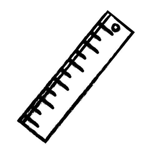 figura disegno del righello per l'educazione degli strumenti scolastici vettore