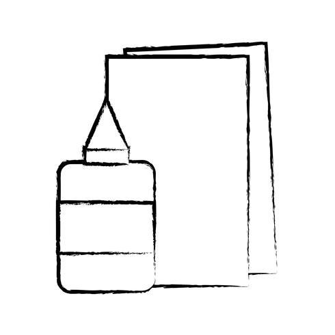 figura colla e strumenti scolastici di cartone per l'educazione vettore