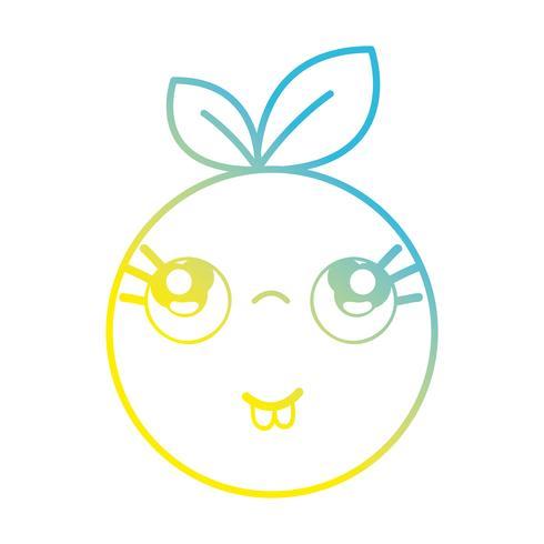 linea kawaii carino divertente frutta arancione vettore
