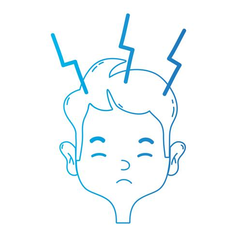 linea uomo con mal di testa al problema dello stress vettore