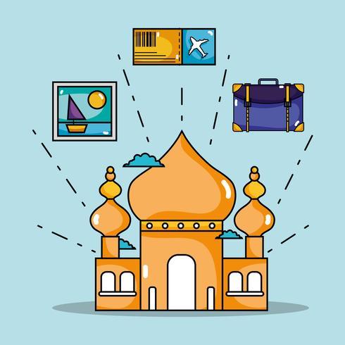 Taj Mahal con foto e biglietti di viaggio vettore