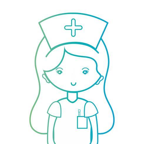 linea donna infermiera con design uniforme e acconciatura vettore