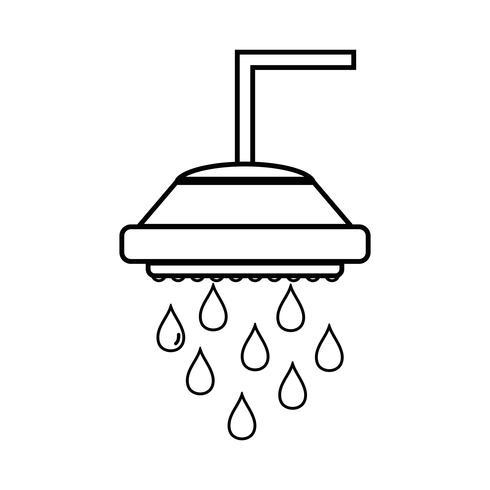 linea doccia tubo idraulico con gocce d'acqua vettore