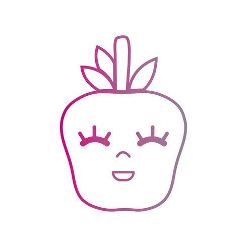 linea kawaii carina mela felice frutta vettore