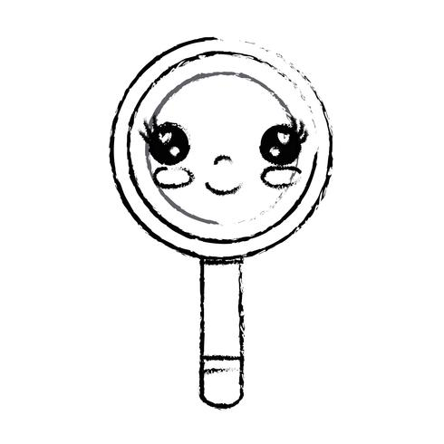 figura kawaii carina lente d'ingrandimento felice vettore