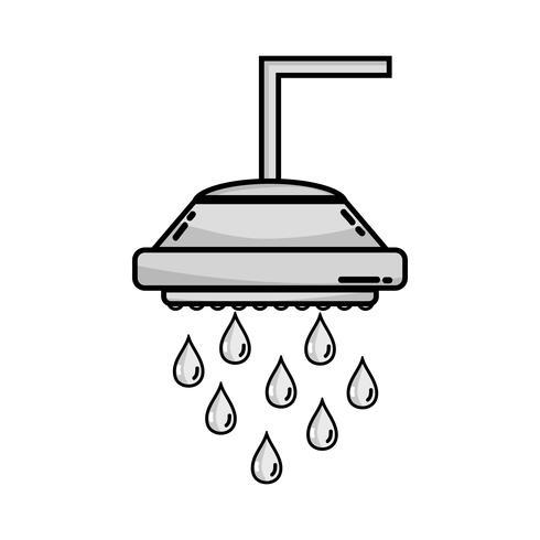 doccia tubo idraulico in scala di grigi con gocce d'acqua vettore