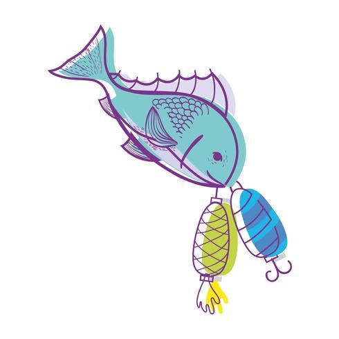 oggetto filatore di pesce che morde per catturarlo vettore