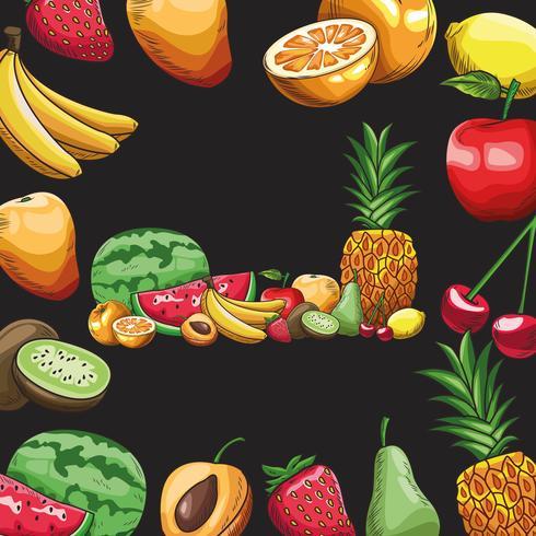 frutti disegnati a mano vettore