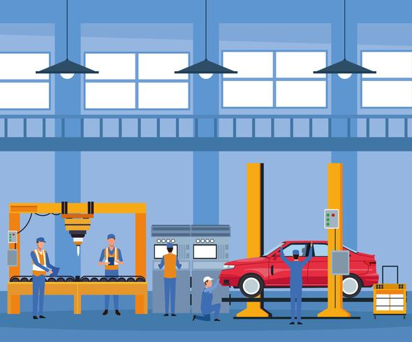 Lavoratore nella fabbrica di automobili vettore
