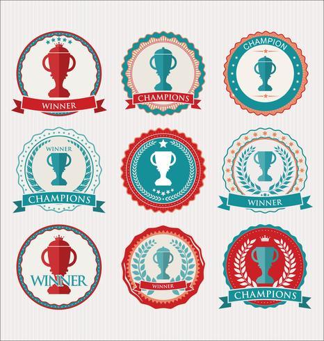 Collezione di badge ed etichette per trofei e premi vettore