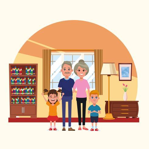 Famiglia dentro i cartoni animati di paesaggi domestici vettore