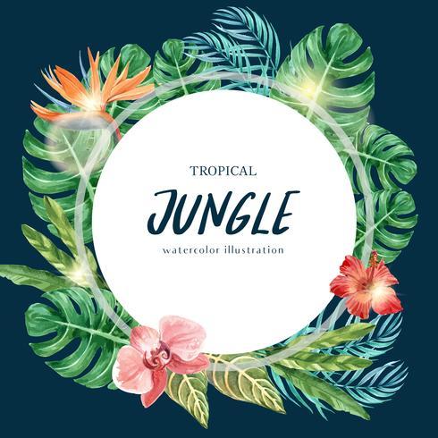 Estate tropicale di progettazione di turbinio della corona con progettazione esotica, creativa del modello dell'illustrazione di vettore dell'acquerello del fogliame delle piante