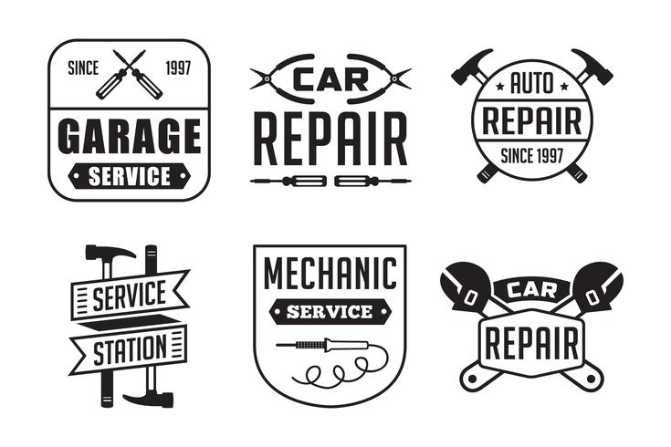 Logo meccanico e badge, ottimo per la stampa vettore
