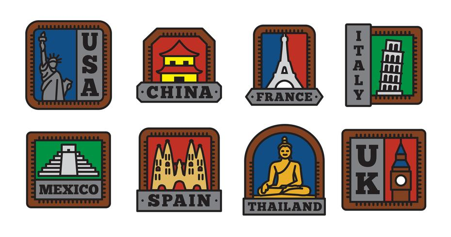 Set di collezioni di badge del paese, simbolo del grande paese vettore