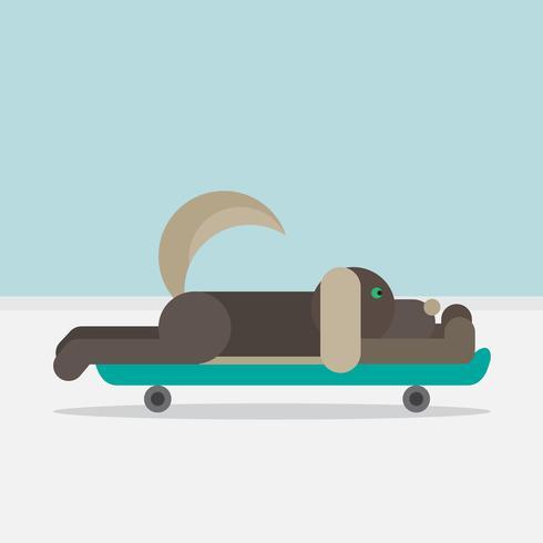 Cane seduto su uno skateboard vettore