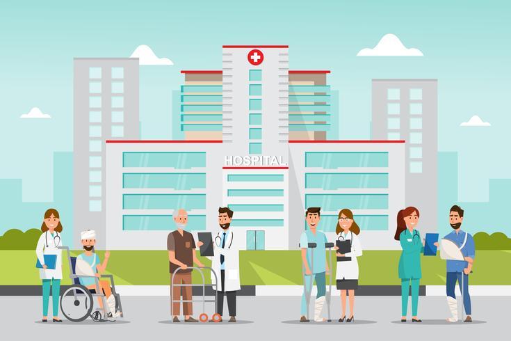 Set di personaggi dei cartoni animati medico e paziente. vettore