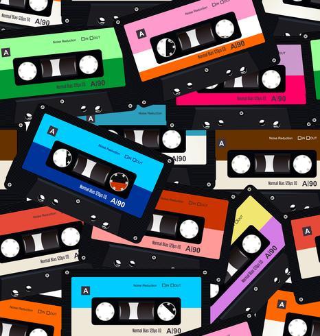 Modello senza cuciture con vecchie cassette audio vettore