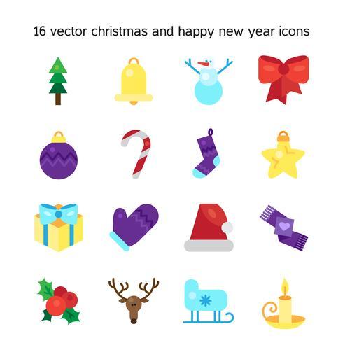 Icone di buon Natale vettore