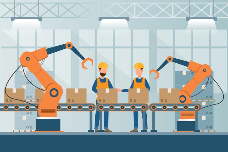 fabbrica industriale intelligente in uno stile piano con gli operai, i robot e l'imballaggio della catena di montaggio vettore