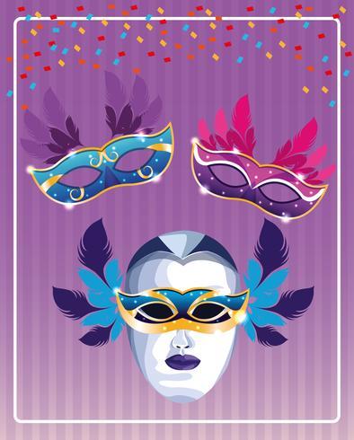 Maschere di Mardi Gras vettore
